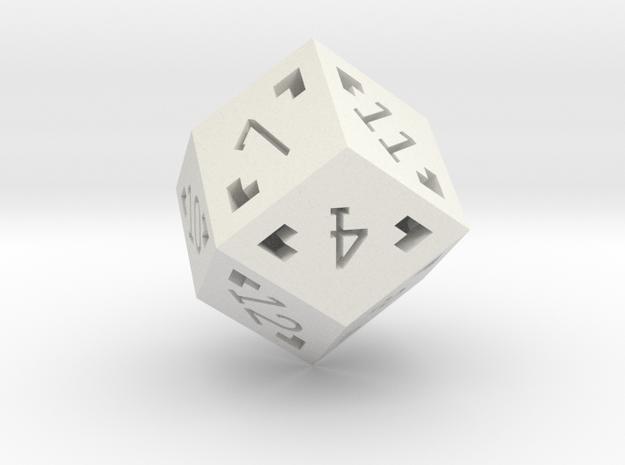 Rhombic 12 Sided Die - Large in White Natural Versatile Plastic