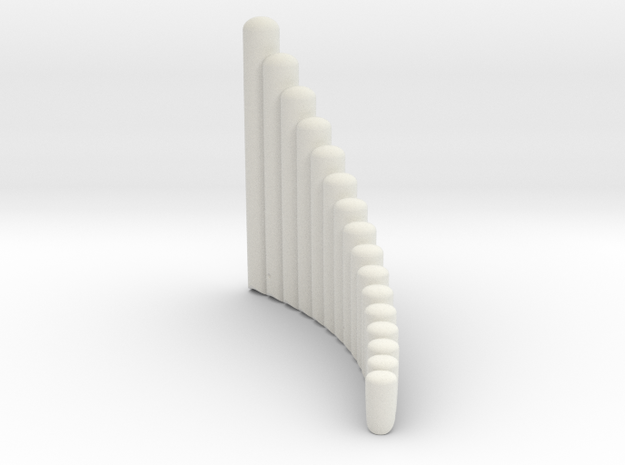 "Right-handed ""Salsero"" wholetone panpipe in White Natural Versatile Plastic"