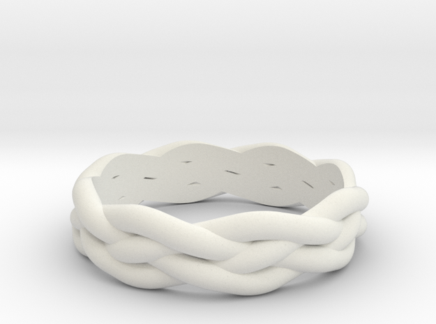 Braided Ring 6 L½ (other sizes available) in White Natural Versatile Plastic
