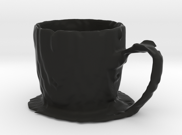 Coffee mug #7 XL - Melted in Black Natural Versatile Plastic