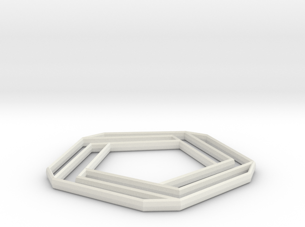 Impossible pentabar in White Natural Versatile Plastic