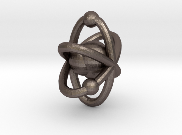 Atom pendant 1 in Polished Bronzed Silver Steel
