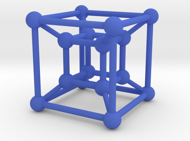 Tesseract in Blue Processed Versatile Plastic