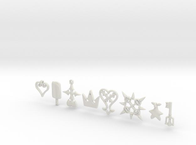 Kingdom Hearts charms 3d printed