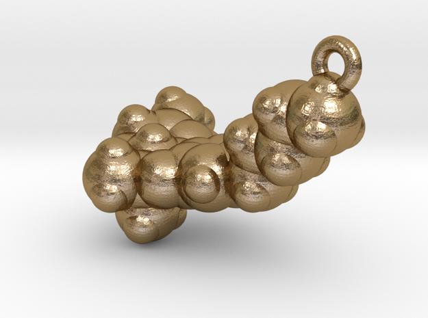 THC Molecule Pendant, ~3.5cm in Polished Gold Steel