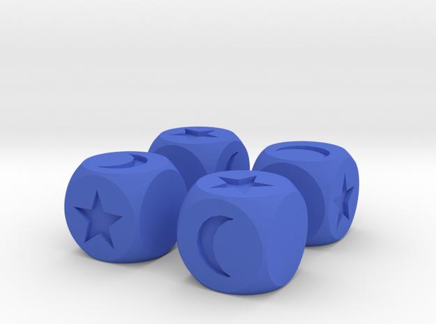 Moon & Stars Fudge Dice (x4) SOLID Fate df 3d printed
