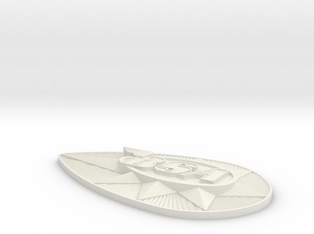 MiniatureBadge in White Natural Versatile Plastic