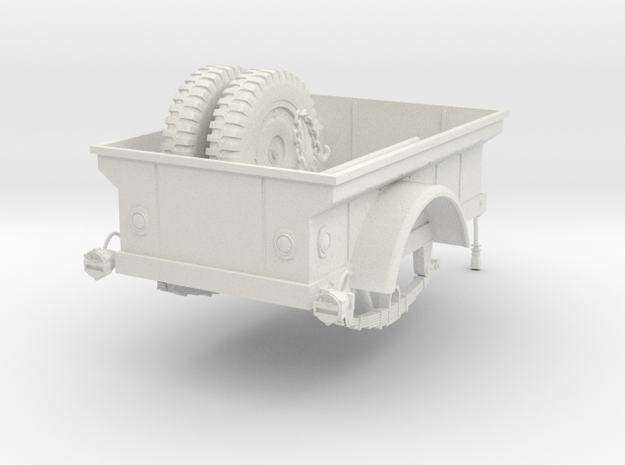 1:18 USA Jeep M-100 MBT Trailer v2 in White Natural Versatile Plastic