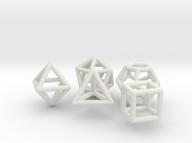 Platonic Solids Set in White Strong & Flexible