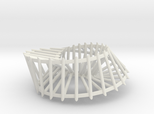 Triangular Möbius Cage in White Natural Versatile Plastic