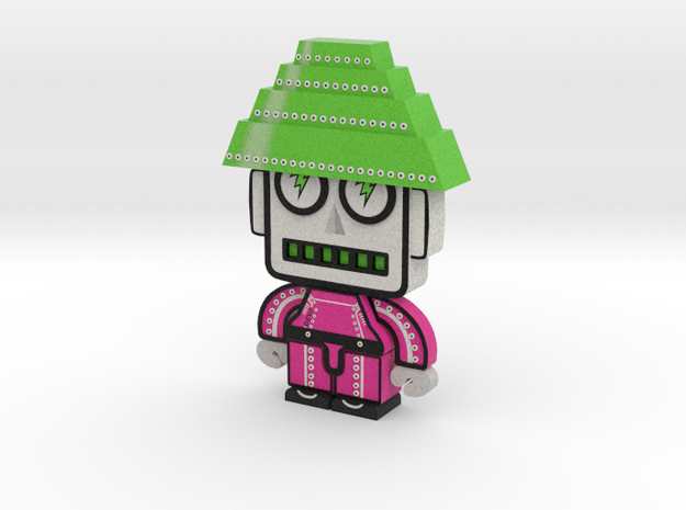 DevoBots Series 1 Pink bio suit with Green energy  in Full Color Sandstone