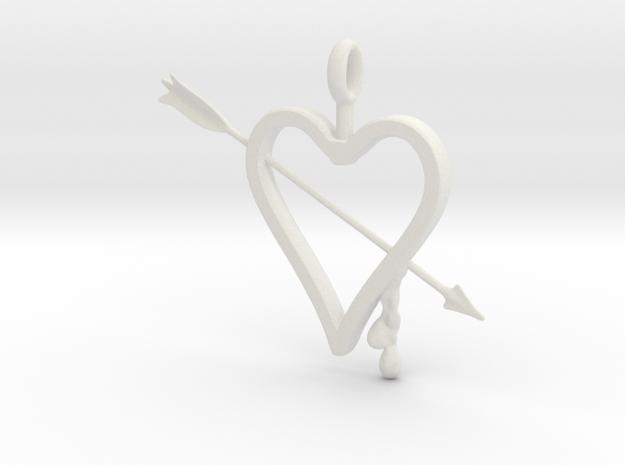 Heart & Arrow Pendant in White Natural Versatile Plastic