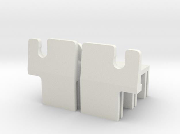 MR02 Side Clips in White Natural Versatile Plastic