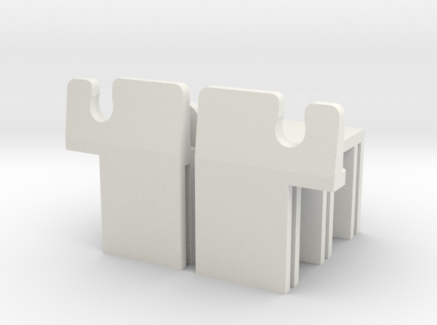 MR03 Side Clips in White Natural Versatile Plastic
