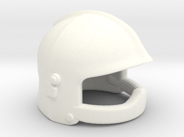 European Fire Helmet in White Processed Versatile Plastic
