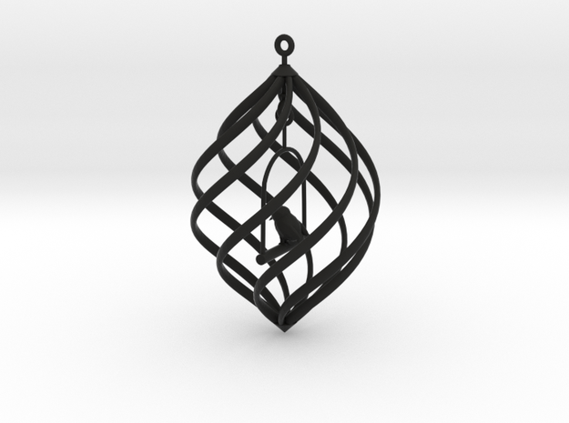 Birdcage Spinning Ornament 3d printed