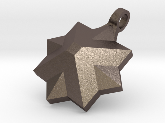 PyraStar™ (Pyramid & Star) Pendant w/ Smooth Walls in Polished Bronzed Silver Steel