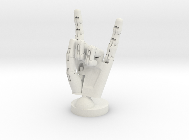 Cyborg hand posed rock small in White Natural Versatile Plastic