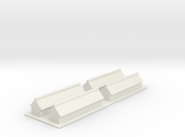 1/700 Missile Construction Buildings (x4) in White Natural Versatile Plastic