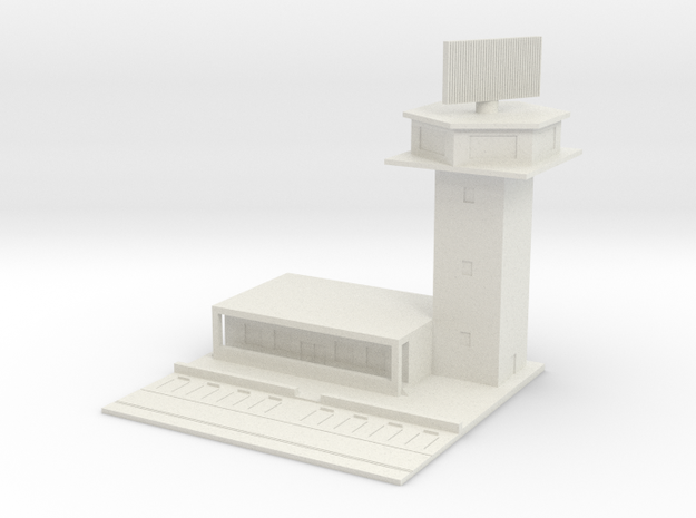 1/700 Control Tower And RADAR With Carpark in White Natural Versatile Plastic