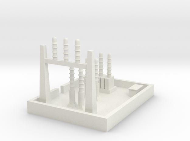 1/700 Small Power Substation in White Natural Versatile Plastic