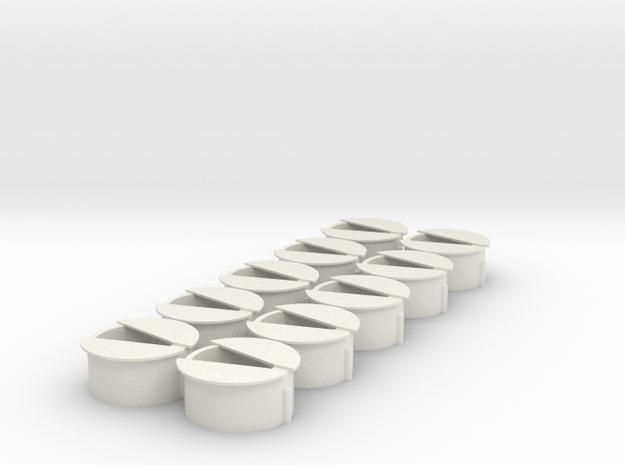 10 Wisseldeksels type 2 in White Natural Versatile Plastic