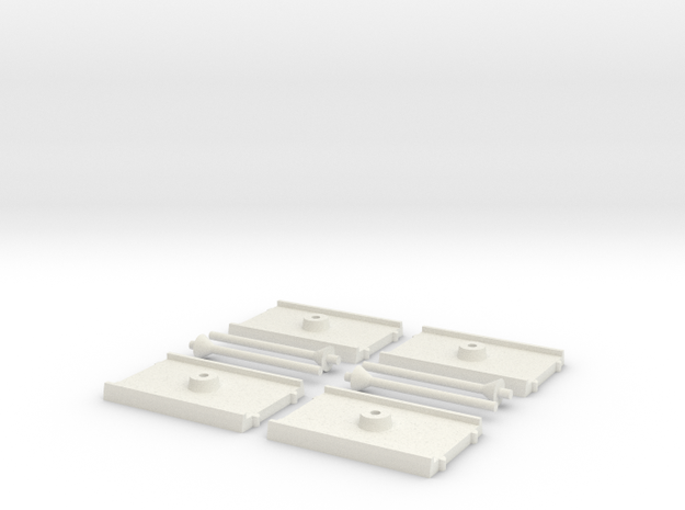 4x Shuttle Size Base in White Natural Versatile Plastic