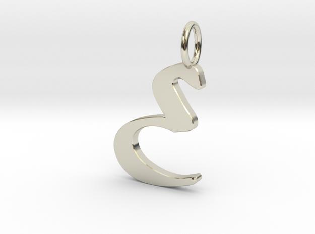 Classic Script Initial Pendant Letter E. in 14k White Gold
