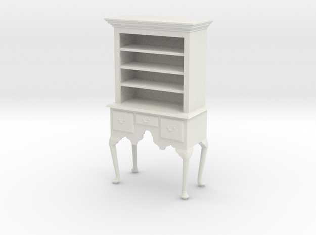1:24 Queen Anne Highboy, with Shelves in White Natural Versatile Plastic