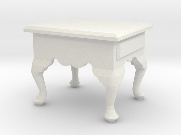 1:24 Queen Anne End Table, Short in White Strong & Flexible