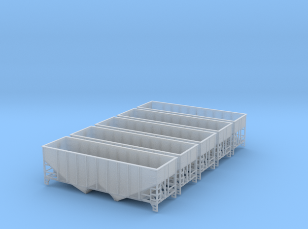 TT Scale 2 Bay Hopper 8 Panel 5 pack in Smooth Fine Detail Plastic