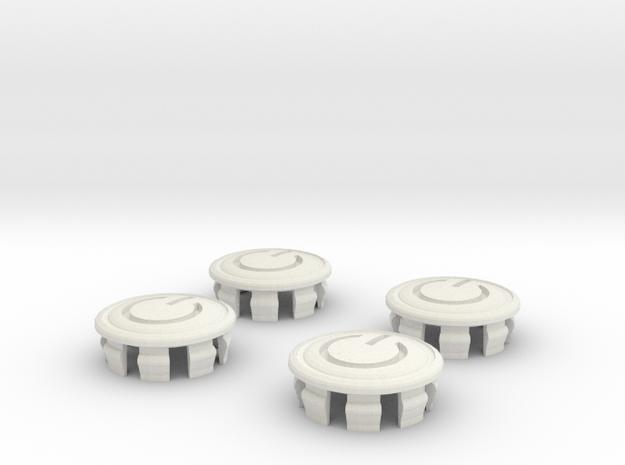 Power Symbol 4 X Prius G2 Hubcaps in White Natural Versatile Plastic