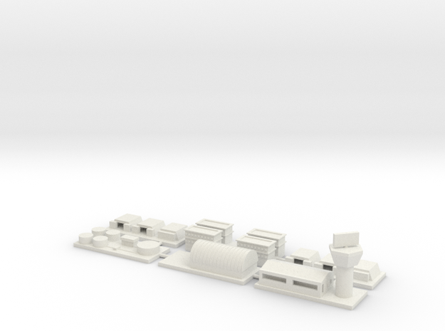 "1"" Buildings Set 3 - Airbase in White Natural Versatile Plastic"