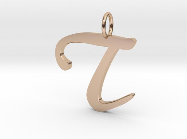 T Classic Script Initial Pendant in 14k Rose Gold