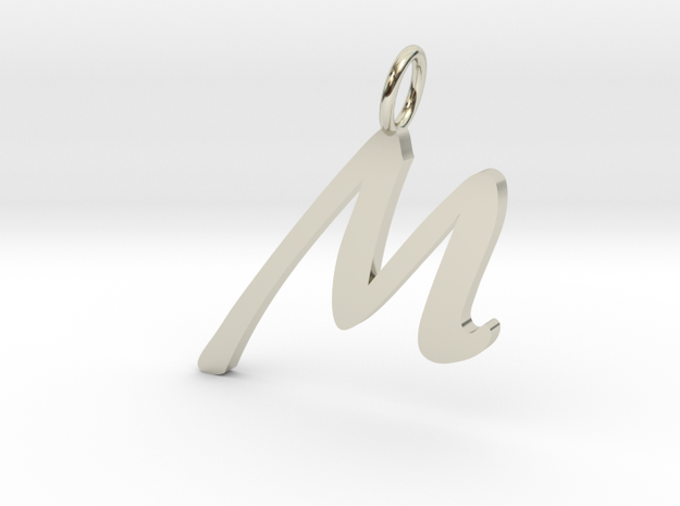 M Classic Script Initial Pendant Letter  in 14k White Gold