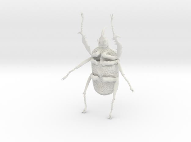 Goliath Beetle solid filigree - 10cm in White Natural Versatile Plastic