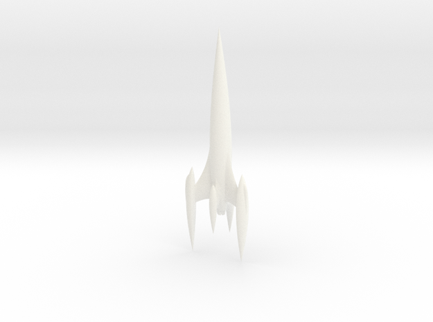 Retro Rocket 5 Miniature (Large) in White Strong & Flexible Polished
