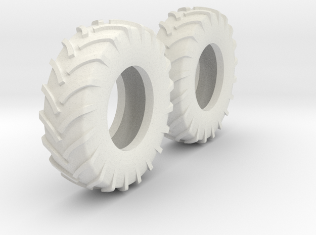 1:64 scale 18.4-30 Tires in White Natural Versatile Plastic
