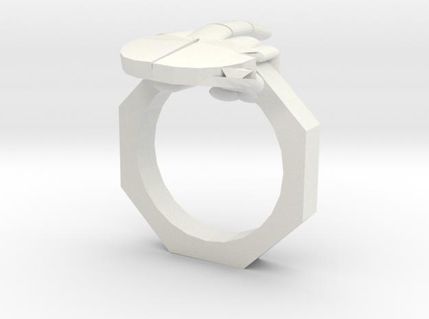 Finger Ring in White Natural Versatile Plastic