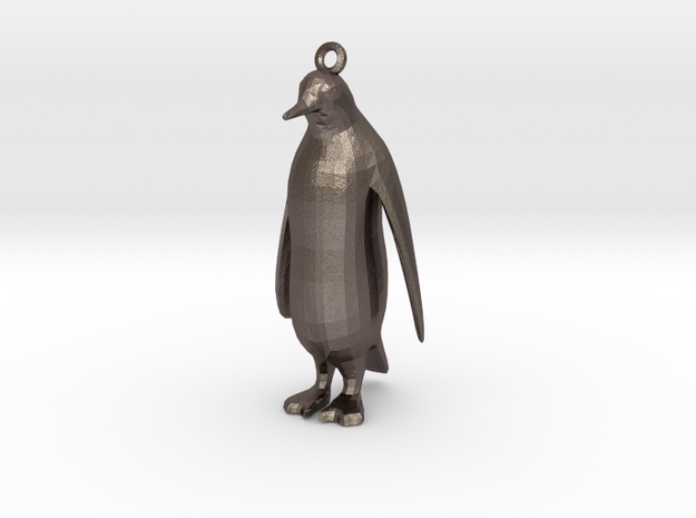 PenguinPendant in Polished Bronzed Silver Steel