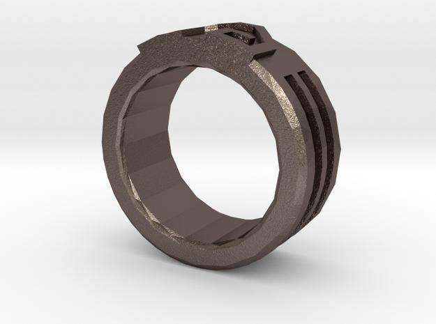 Earth Bender Ring V2 in Polished Bronzed Silver Steel