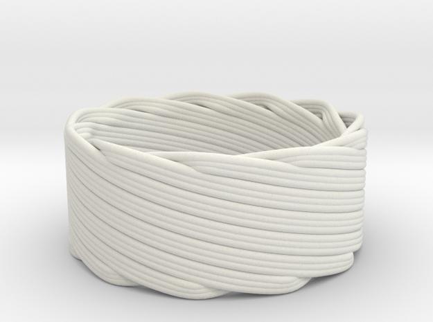 Single Stranded Matthew Walker Knot Napkin Ring in White Natural Versatile Plastic