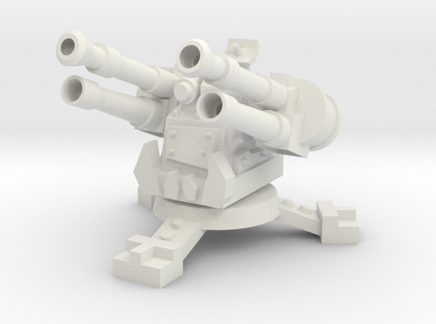 28mm Greenskin Quad AA Turret in White Natural Versatile Plastic
