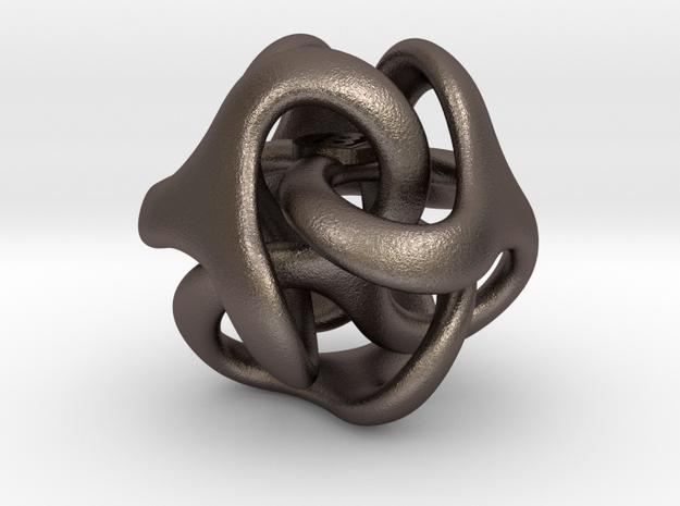 Trilio - Dadi - 20mm pendant in Polished Bronzed Silver Steel