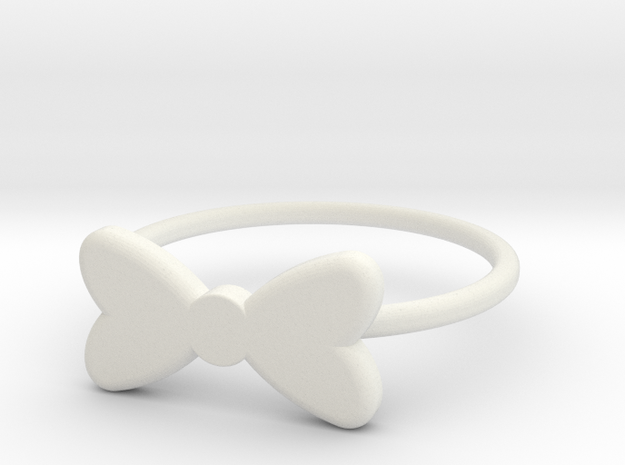 Midi Bow Ring the second by titbit in White Natural Versatile Plastic