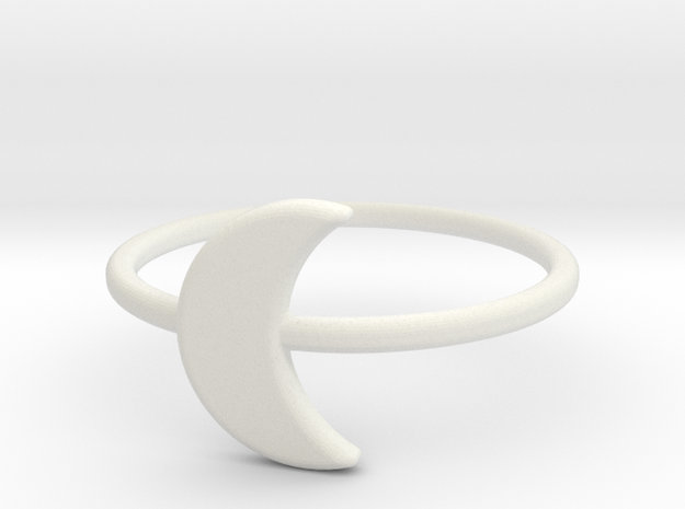 Midi Moon Ring by titbit in White Natural Versatile Plastic