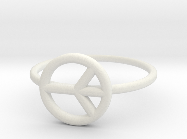 Peace Midi Ring, knuckle ring, by titbit in White Strong & Flexible