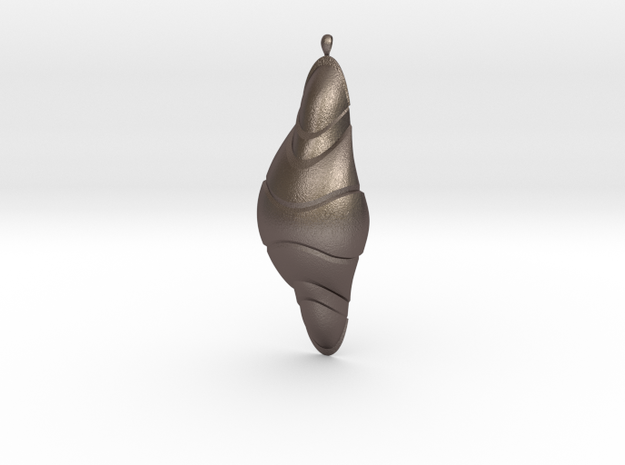 Qolombeh Pendant in Polished Bronzed Silver Steel