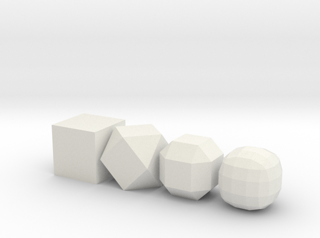 from cube to ball in White Natural Versatile Plastic