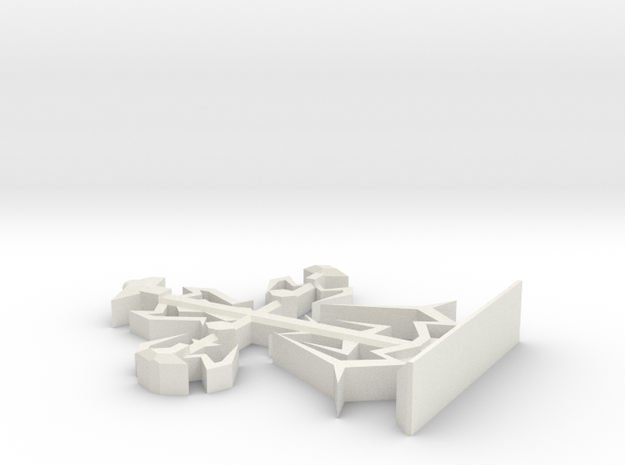 Intricate Medieval Cross on Stand Large 7'' in White Natural Versatile Plastic